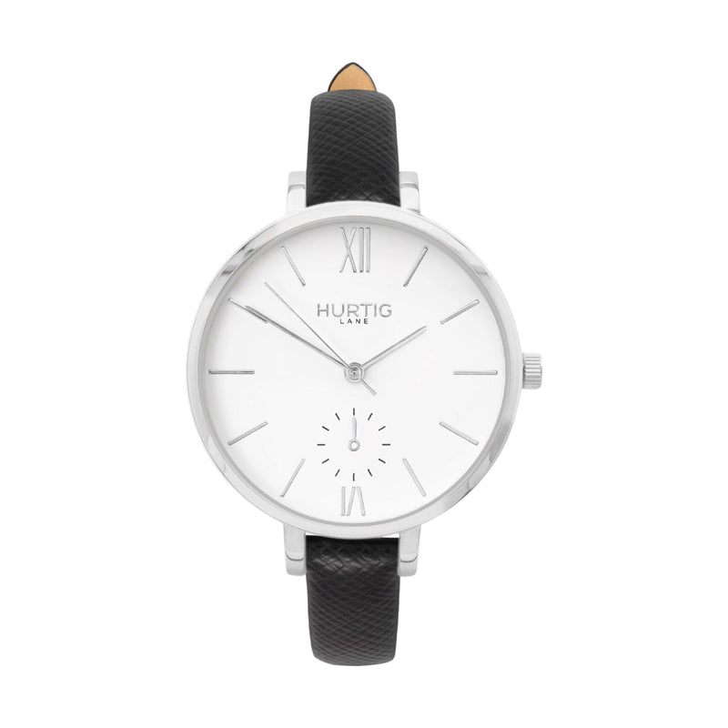 sustainable watch- vegan leather watch silver and tan petite women's vegan watch
