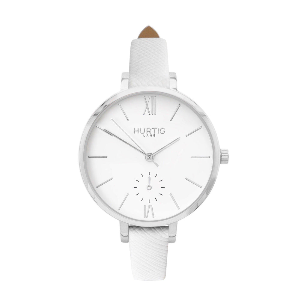 vegane uhr. vegan watch silver, white vegan leather petite women's vegan watch