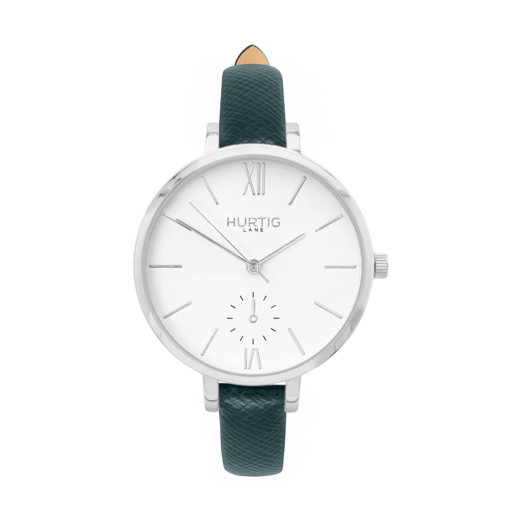 vegane uhren silver, white and green vegan leather petite women's vegan watch