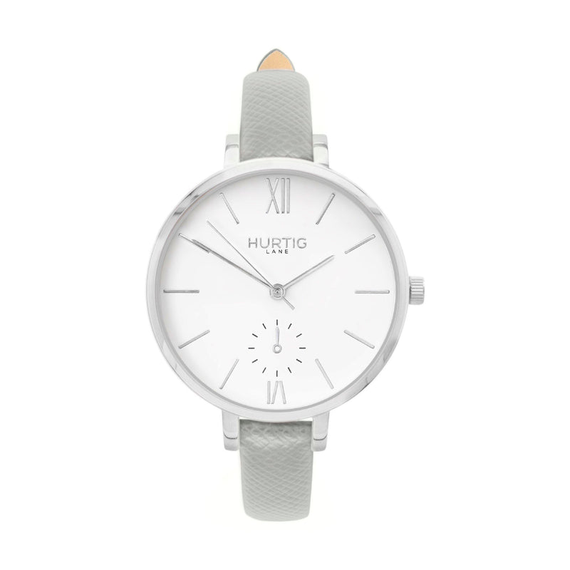 vegane uhren- vegan leather watch silver and grey petite women's vegan watch