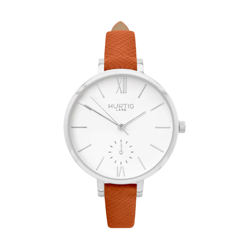vegane uhr. vegan watch silver, white and brown vegan leather petite women's vegan watch