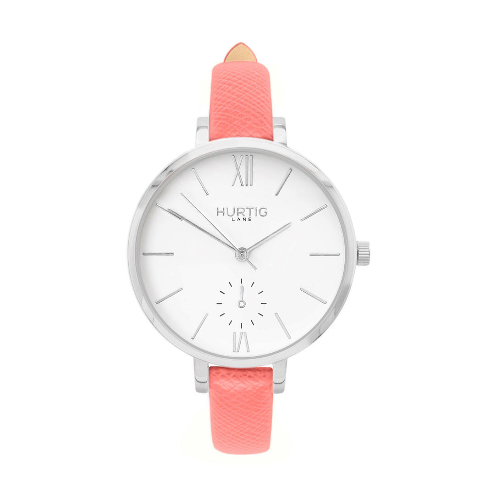vegane uhr hurtig lane, silver, white and pink vegan leather petite women's vegan watch