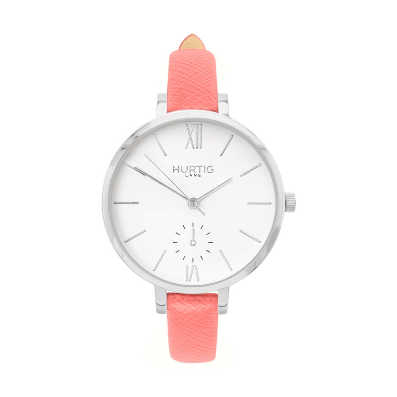 sustainable vegane uhr- vegan leather watch silver and pink petite women's vegan watch