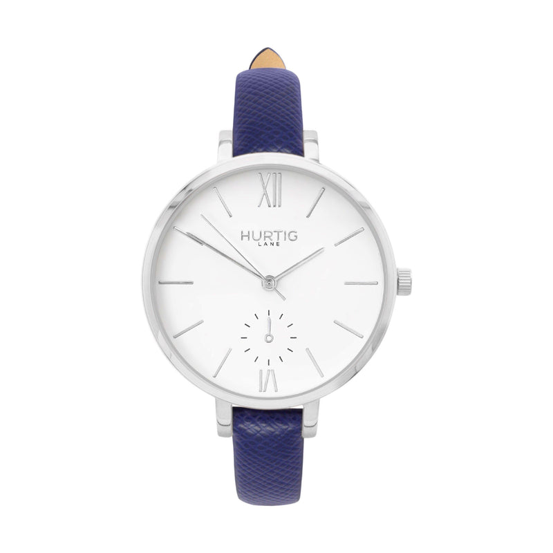 vegane uhr. vegan watch silver, white and blue vegan leather petite women's vegan watch