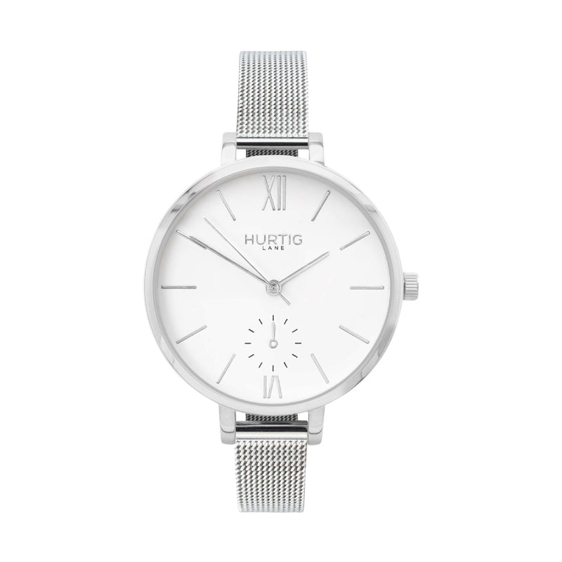 ethical stainless steel mesh watch silver and white petite women's vegan watch