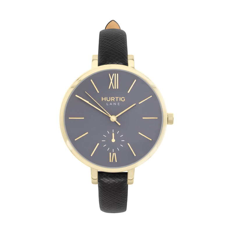 vegane uhr. women's vegan watch gold, grey and black