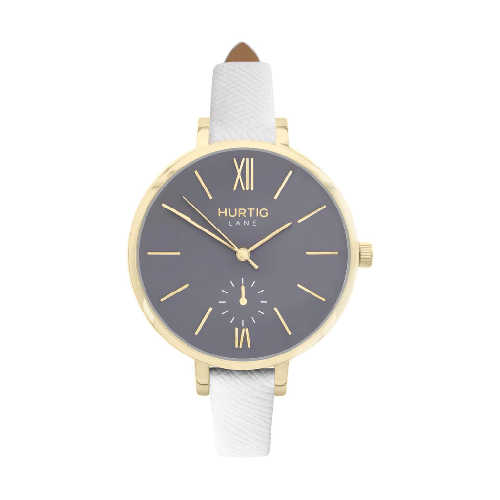 vegane uhr. women's vegan watch gold, grey and white