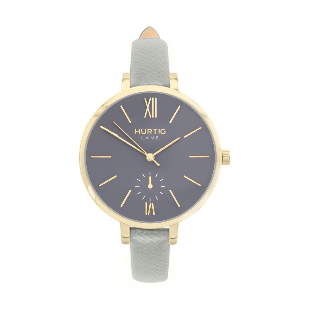 vegane uhr. women's vegan watch gold, grey and grey