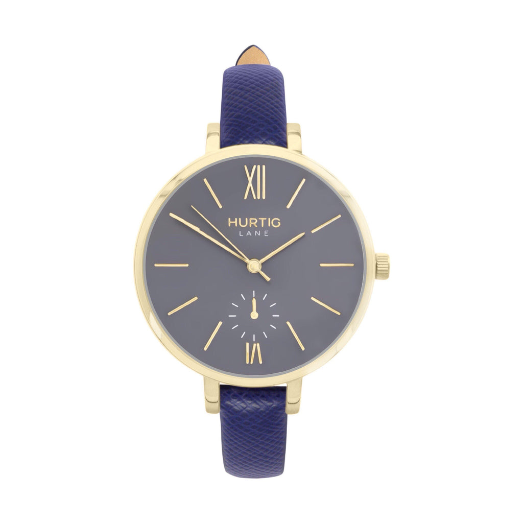 vegane uhr. women's vegan watch gold, grey and blue