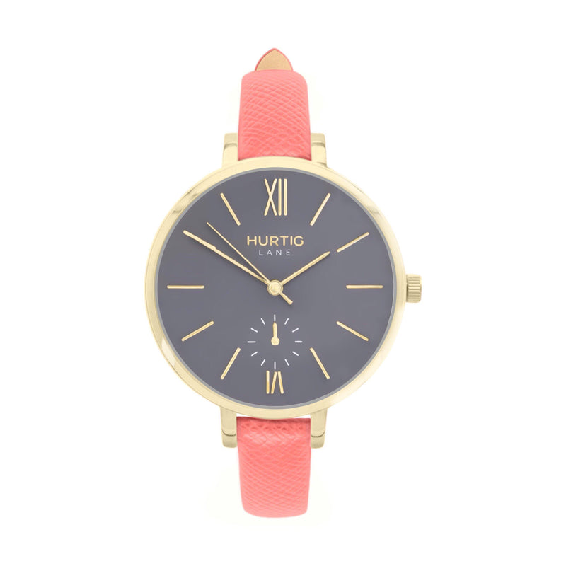 vegane uhr. women's vegan watch gold, grey and coral pink