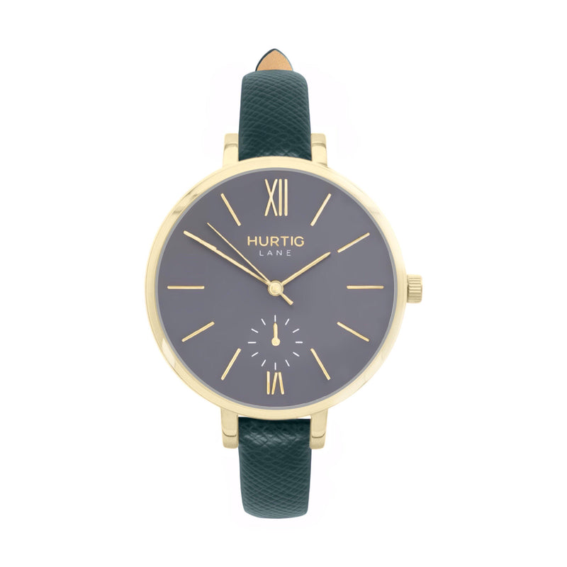 vegane uhr. women's vegan watch gold, grey and green
