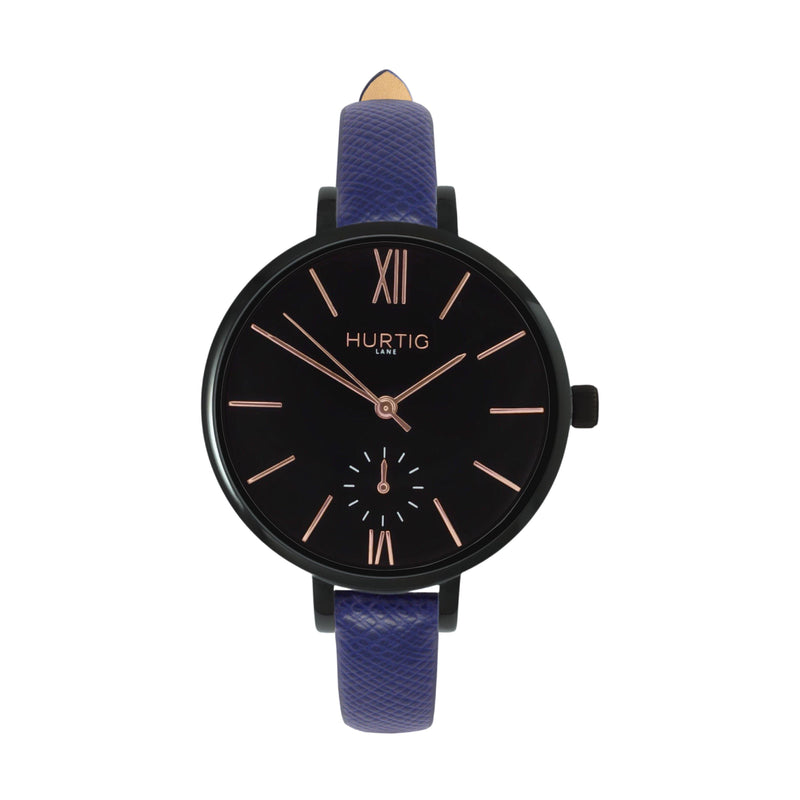 women's vegan leather watch. black and blue