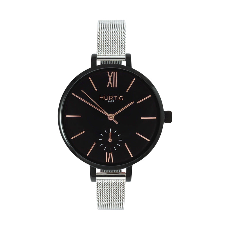 ethical mesh vegan watch. silver and black