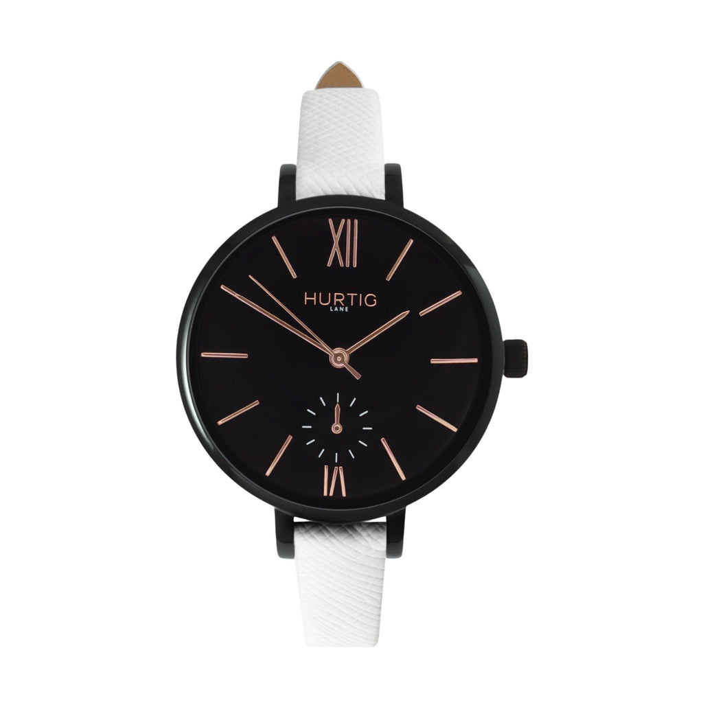 women's vegan leather watch. black and white