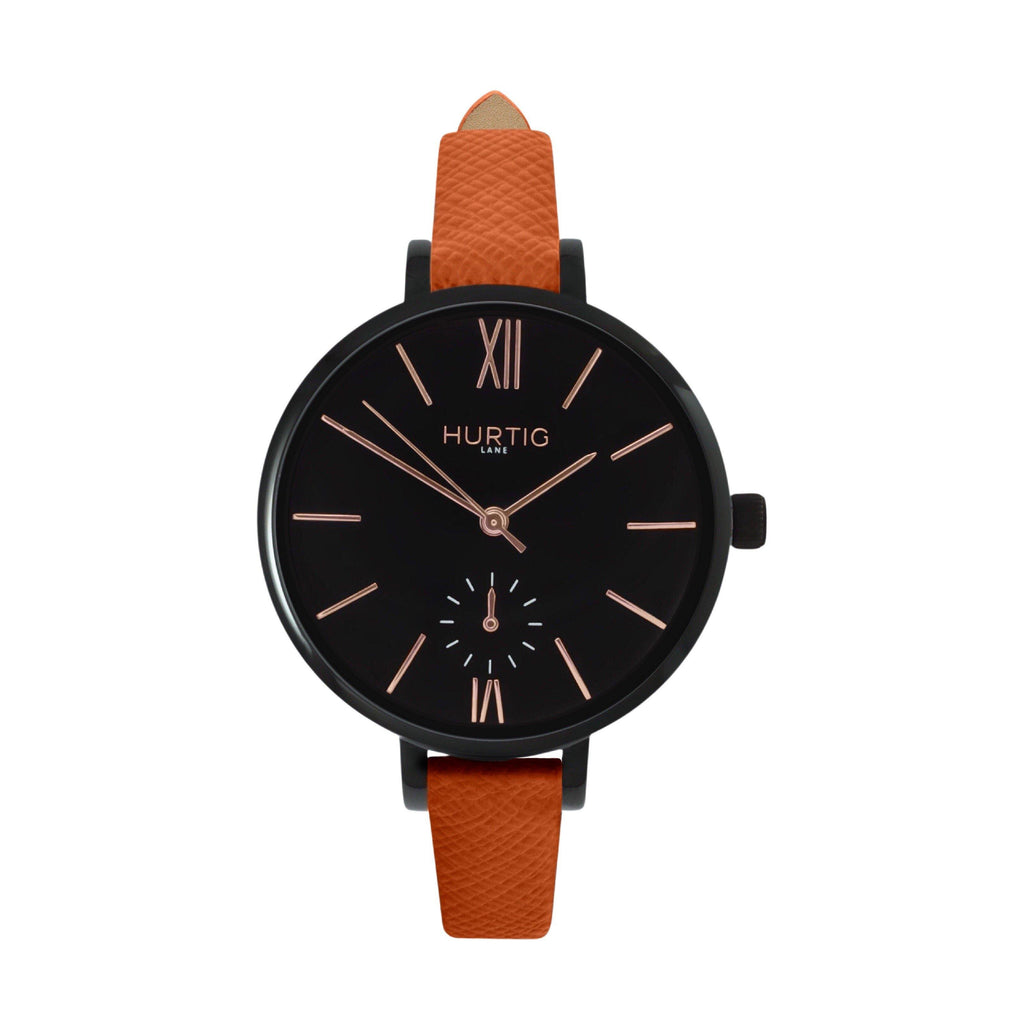 women's vegan leather watch. black and brown