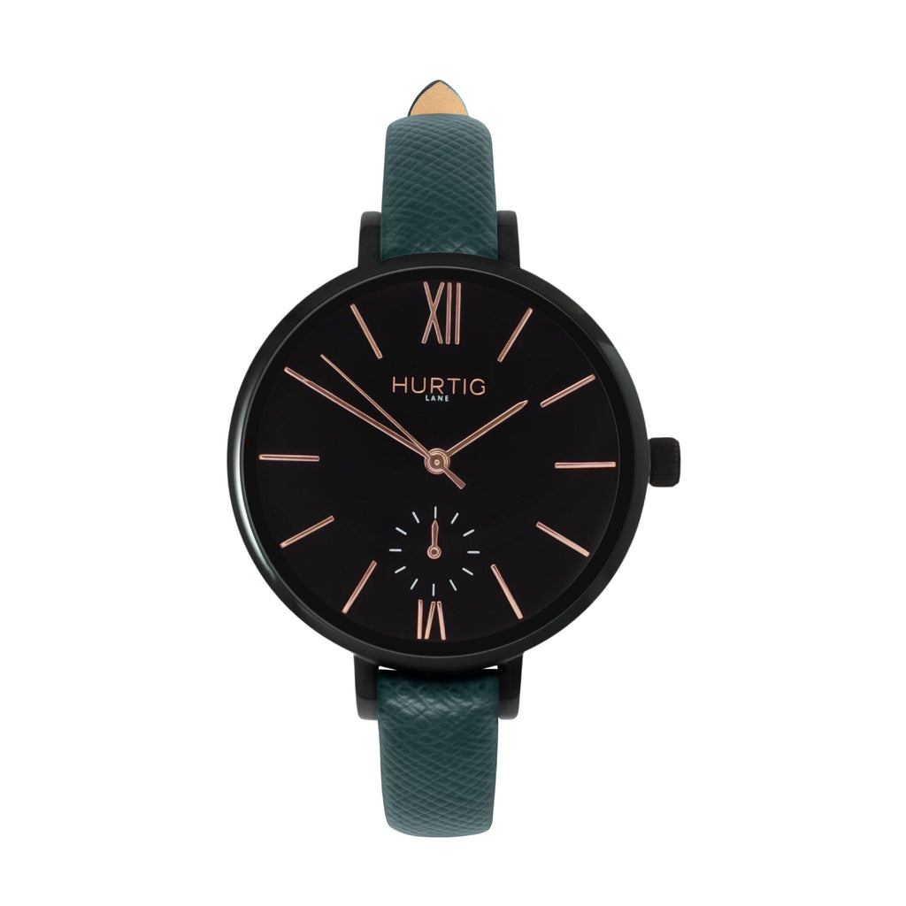 women's vegan leather watch. black and green