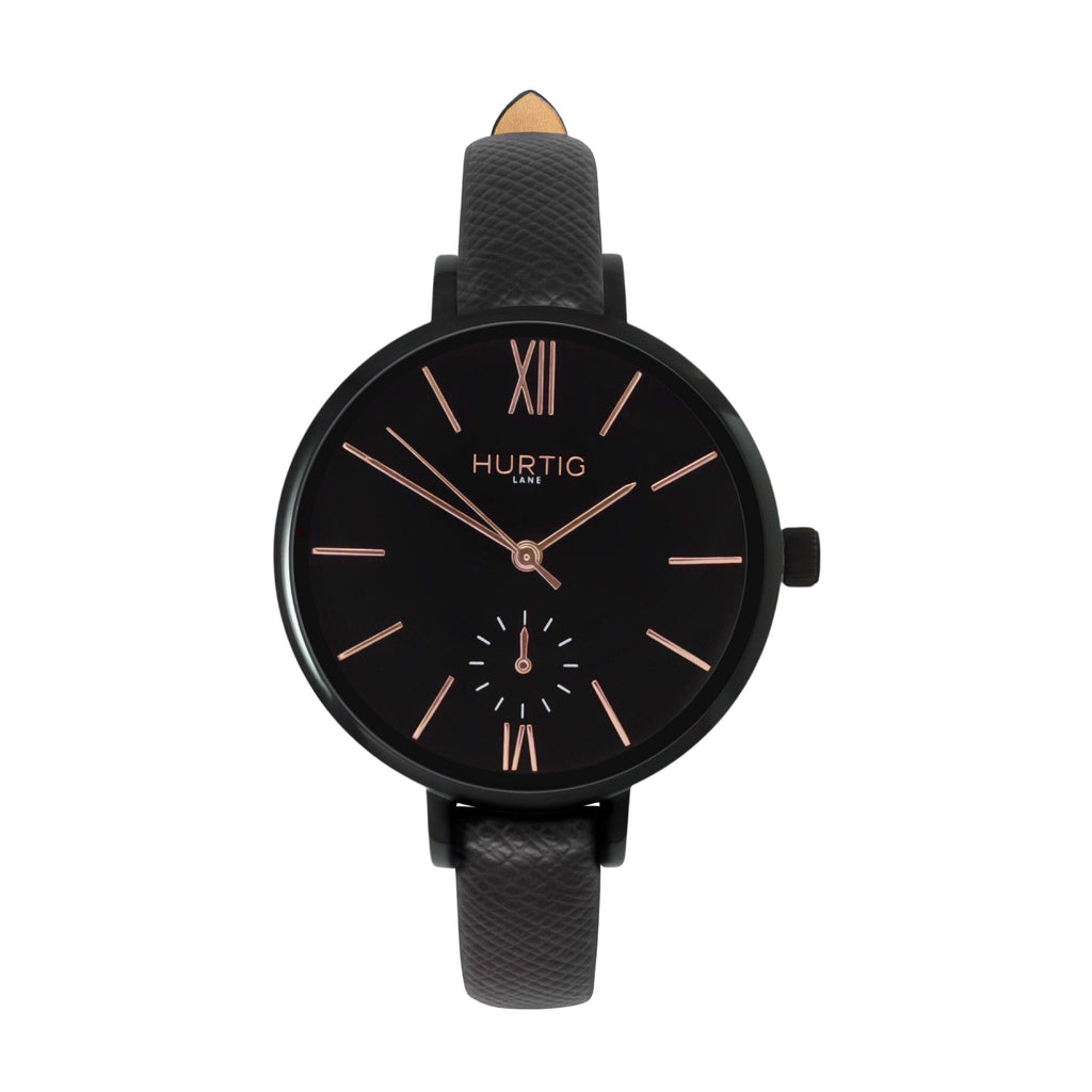 Amalfi Petite Vegan Leather Watch Black, Black & Black - Hurtig Lane - sustainable- vegan-ethical- cruelty free