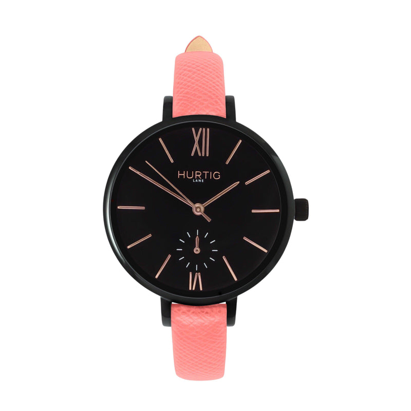 women's vegan leather watch. black and coral pink