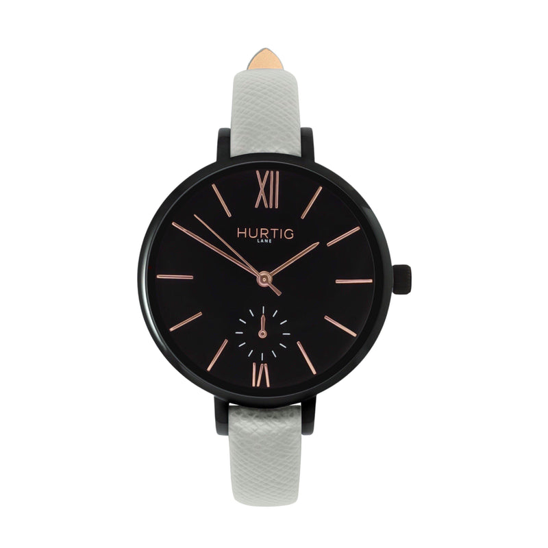 Amalfi Petite Vegan Leather Watch Black, Black & Marine Blue - Hurtig Lane - sustainable- vegan-ethical- cruelty free