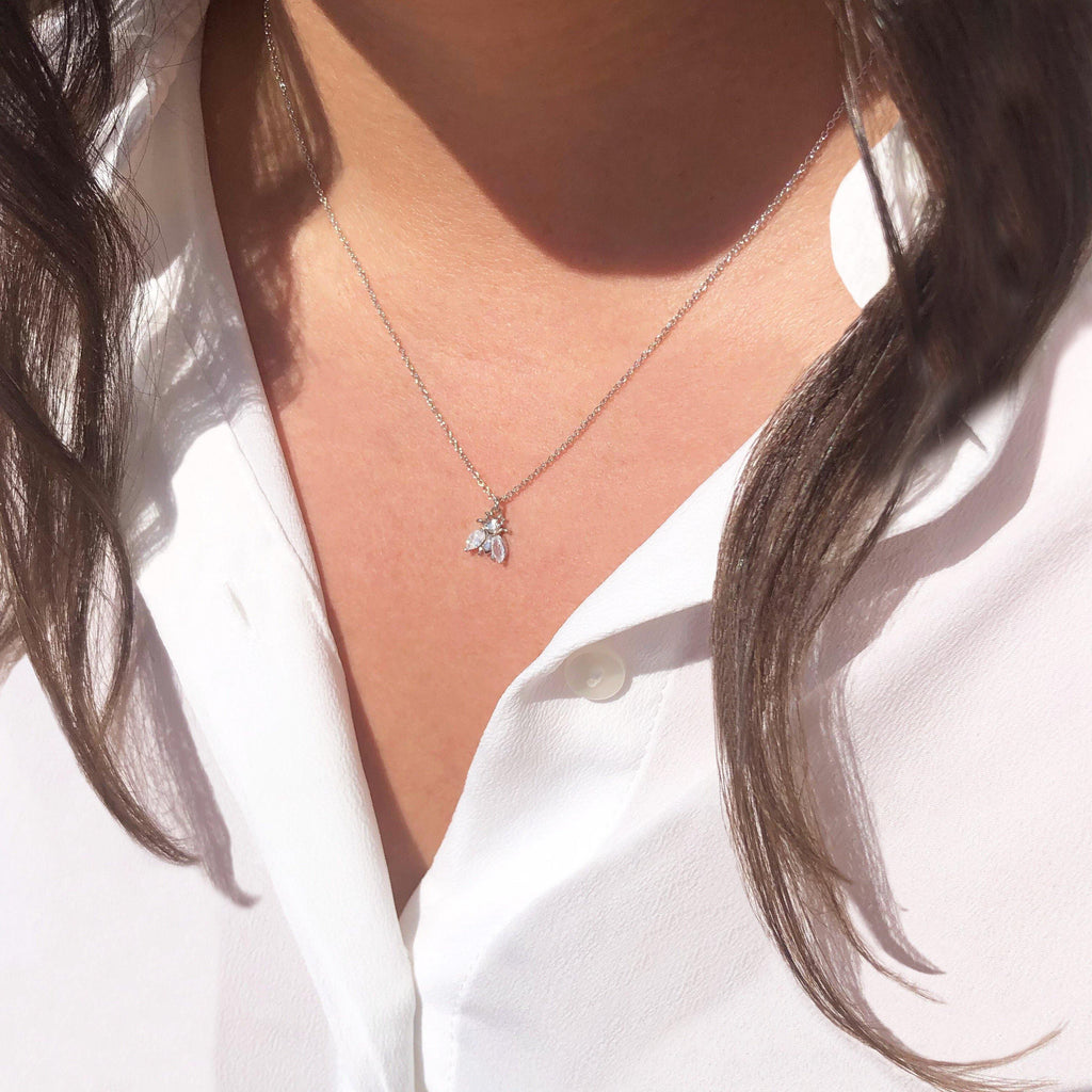 Bee Lovely Brilliance Silver Necklace - Hurtig Lane - sustainable- vegan-ethical- cruelty free