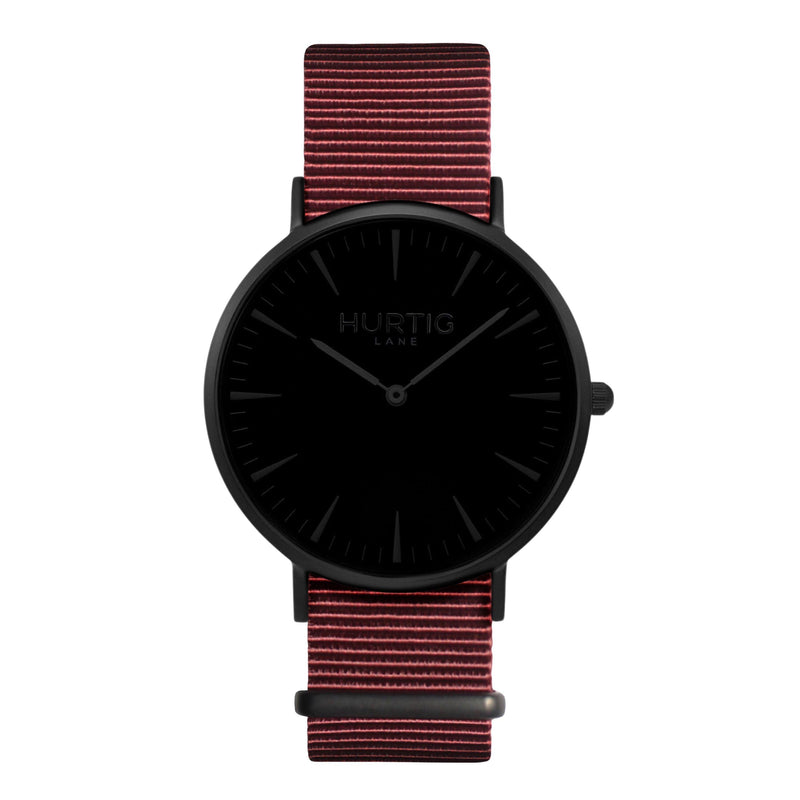 vegan nylon watch. nato watch black and maroon