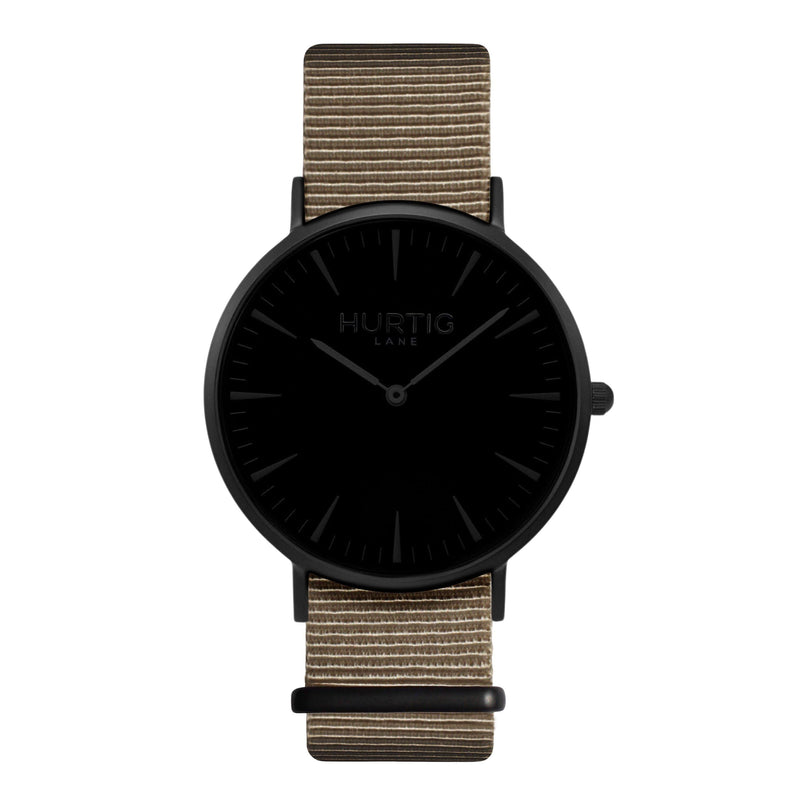 men's vegan nylon nato watch black and beige
