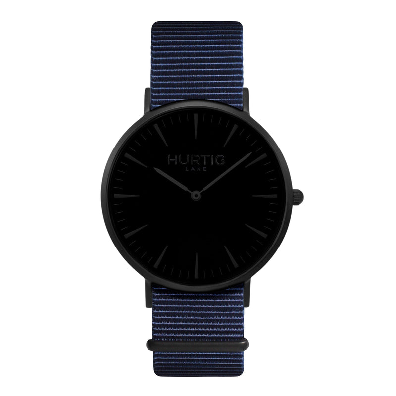 vegan nylon watch. nato watch black and blue