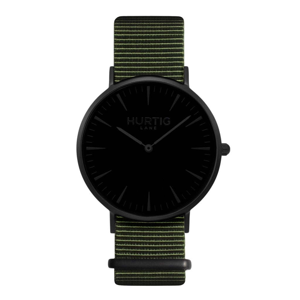 vegan nylon nato watch black and green.