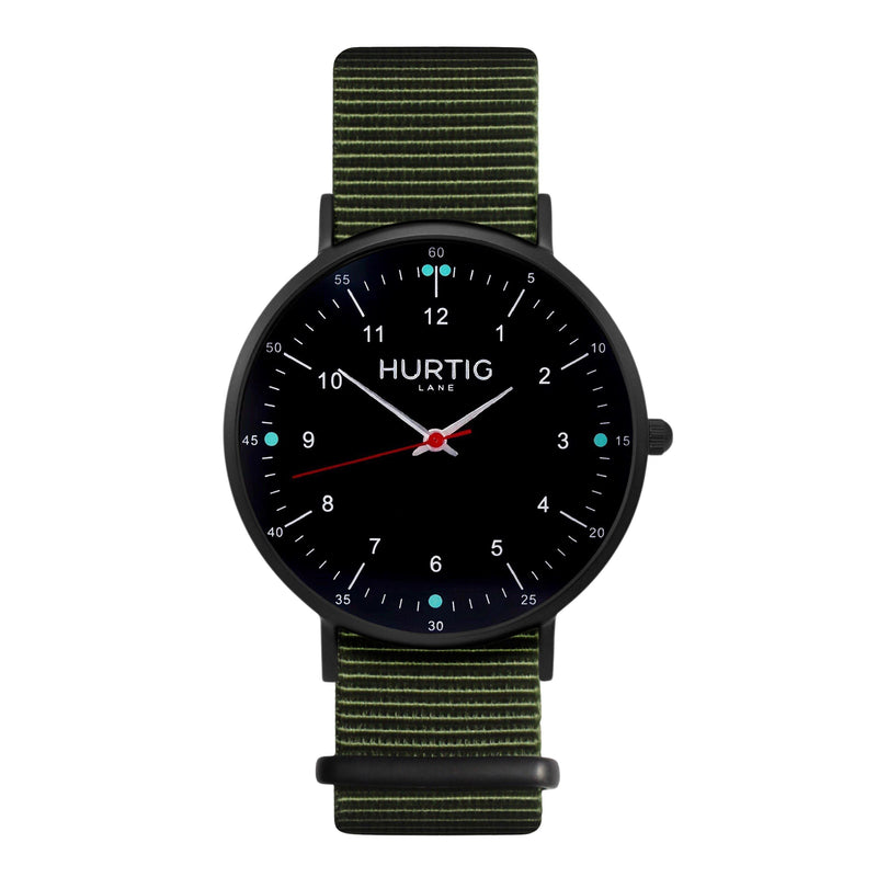 men's vegan nylon nato watch black and green