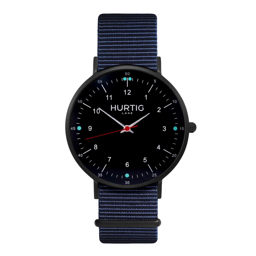 men's vegan nylon nato watch black and blue