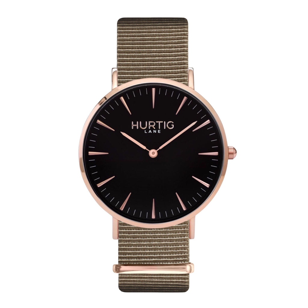 men's vegan nylon nato watch rose gold, black  and beige
