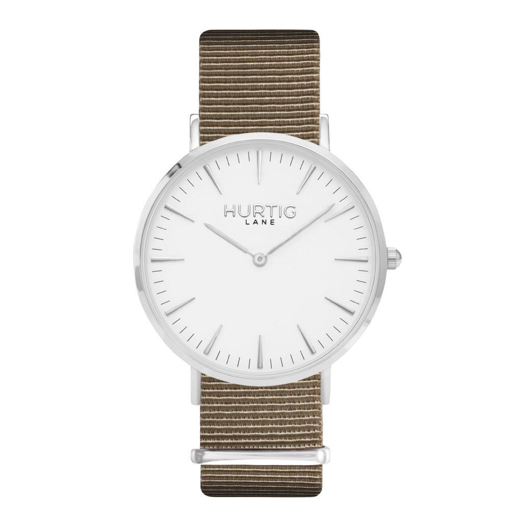men's vegan nylon nato watch silver, white and beige