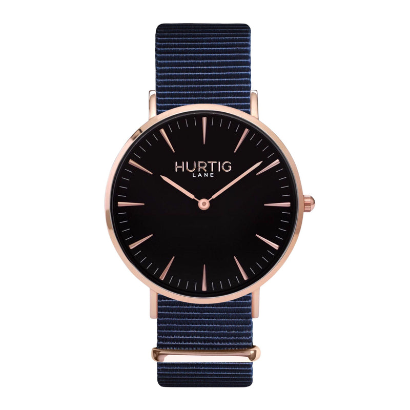 vegan nylon watch. nato watch rose gold, black and blue