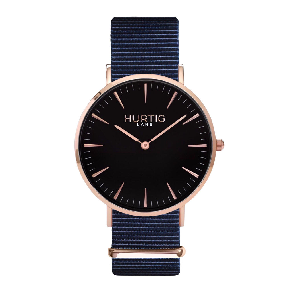 men's vegan nylon nato watch rose gold, black  and blue