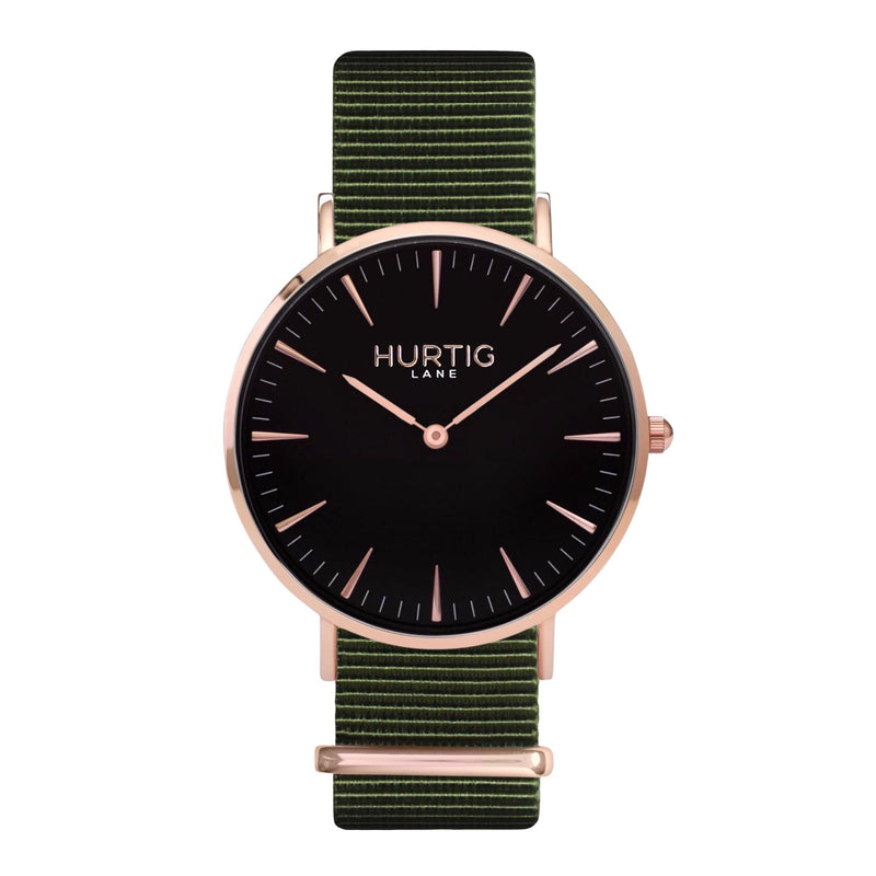 vegan nylon watch. nato watch rose gold, black and green