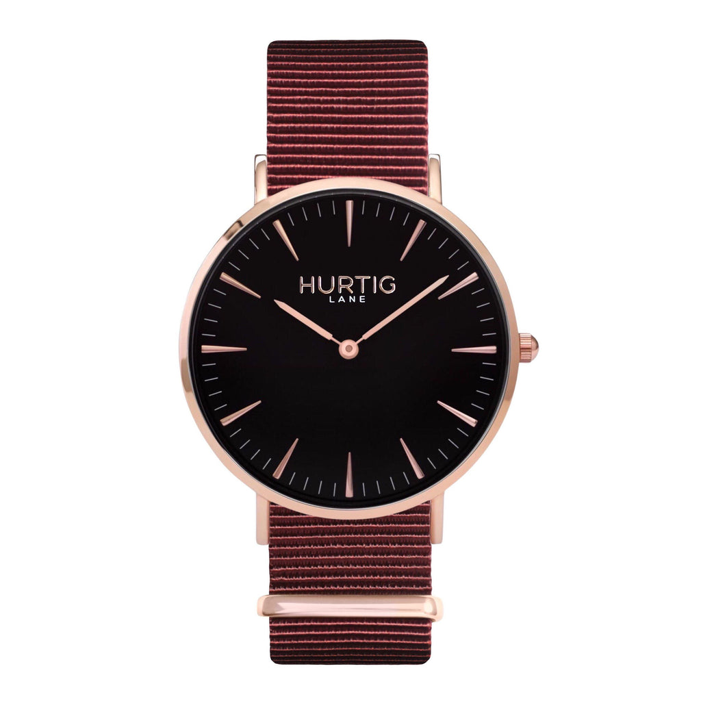 men's vegan nylon nato watch rose gold, black  and maroon