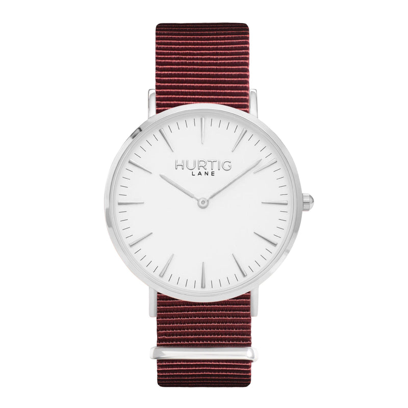 men's vegan nylon nato watch silver, white and maroon