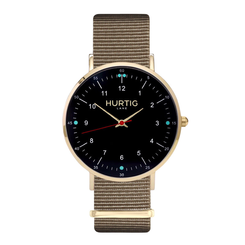 vegan nato watch. gold, black & beige