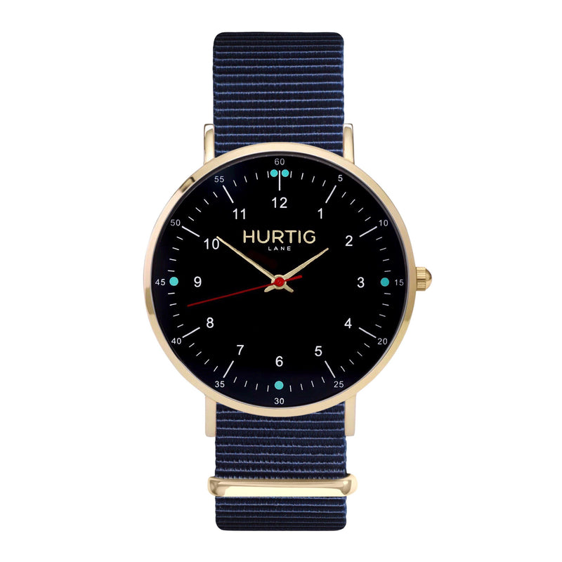 vegan nato watch. gold, black & blue