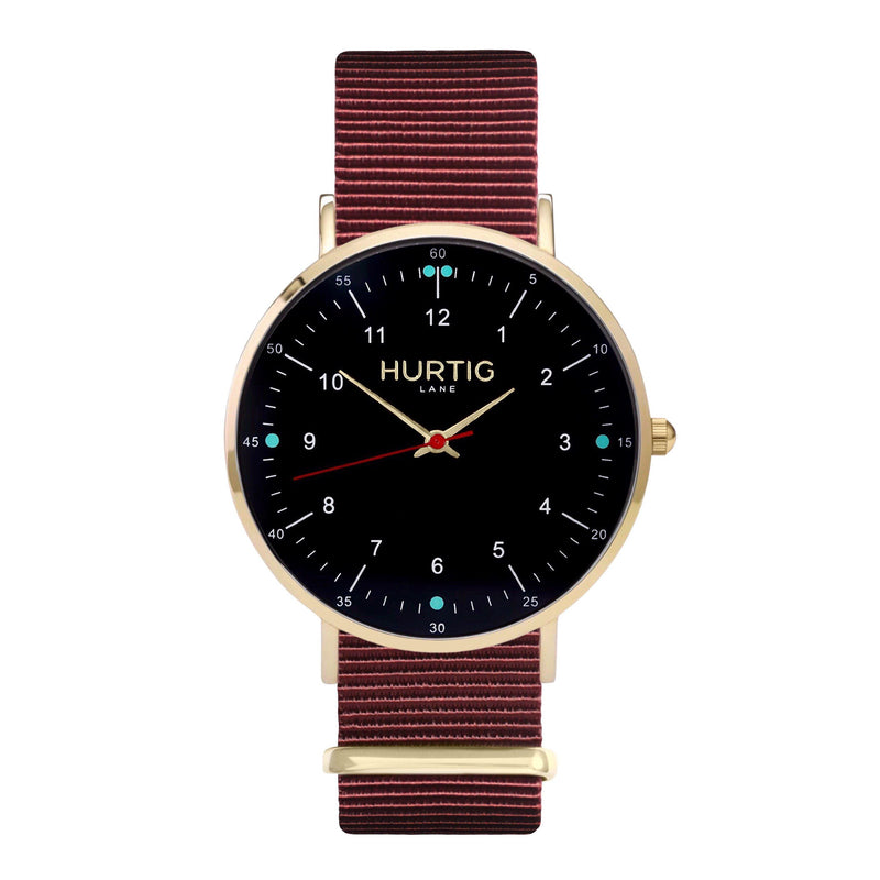 men's vegan nylon nato watch gold, black and maroon