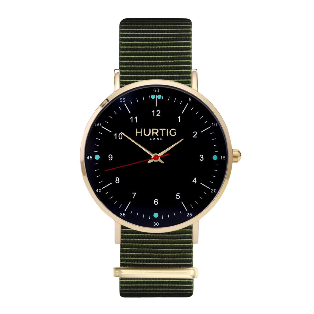 men's vegan nylon nato watch gold, black and green