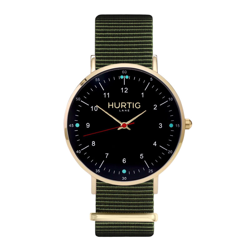 vegan nato watch. gold, black & green