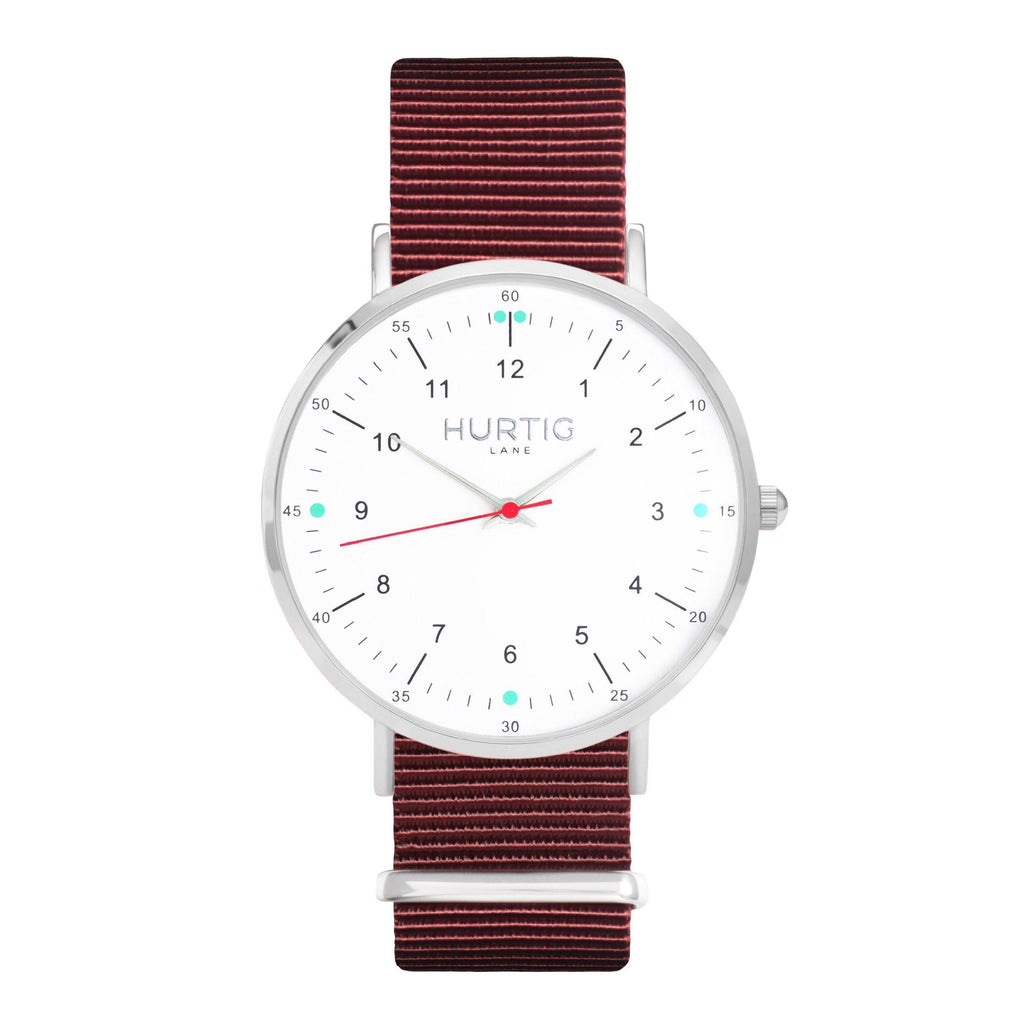 men's maroon nato watch