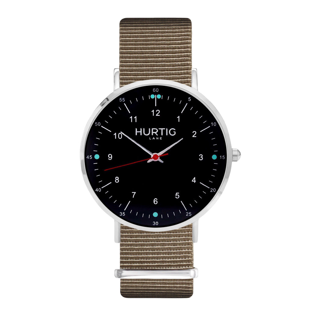 Moderno Vegan Nylon Watch Montezuma Silver, Black & Sand Watch Hurtig Lane Vegan Watches