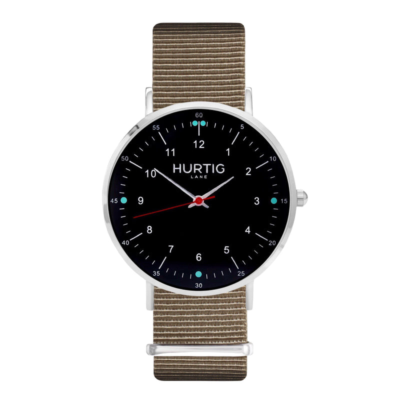 Moderno Vegan Nylon Watch Montezuma Silver, Black & Olive Green Watch Hurtig Lane Vegan Watches