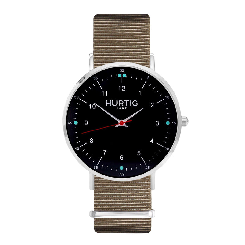 vegane uhr. nato watch silver, black & beige