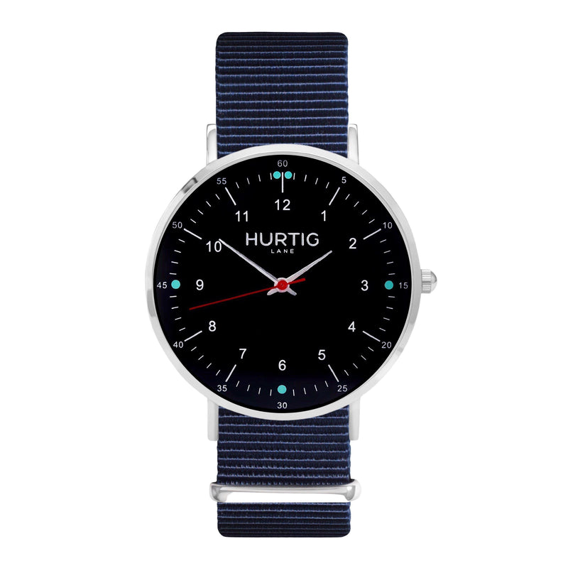 vegane uhr. nato watch silver, black & blue