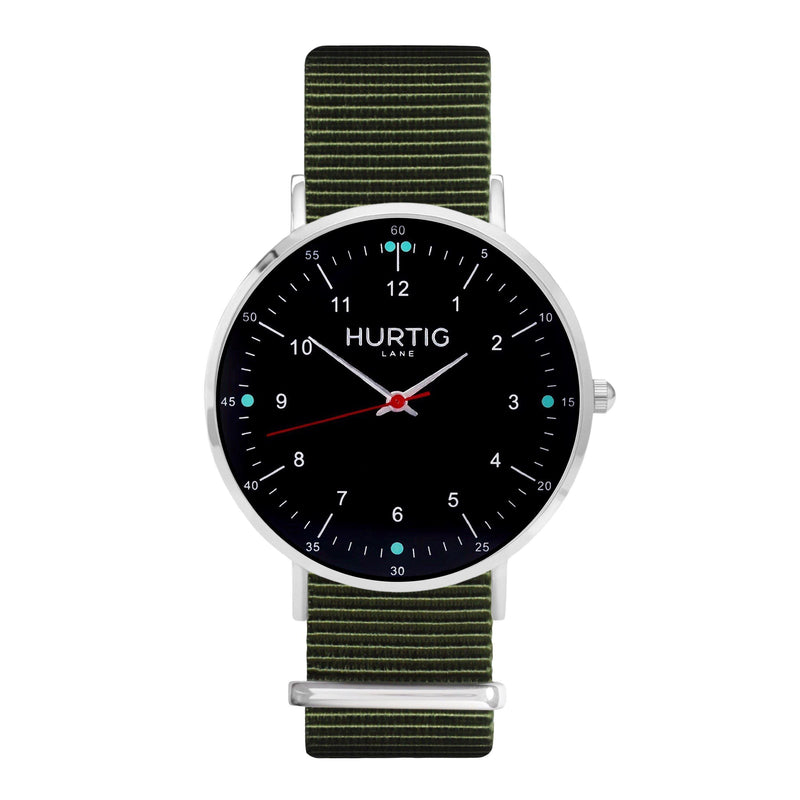 vegane uhr. nato watch silver, black & green