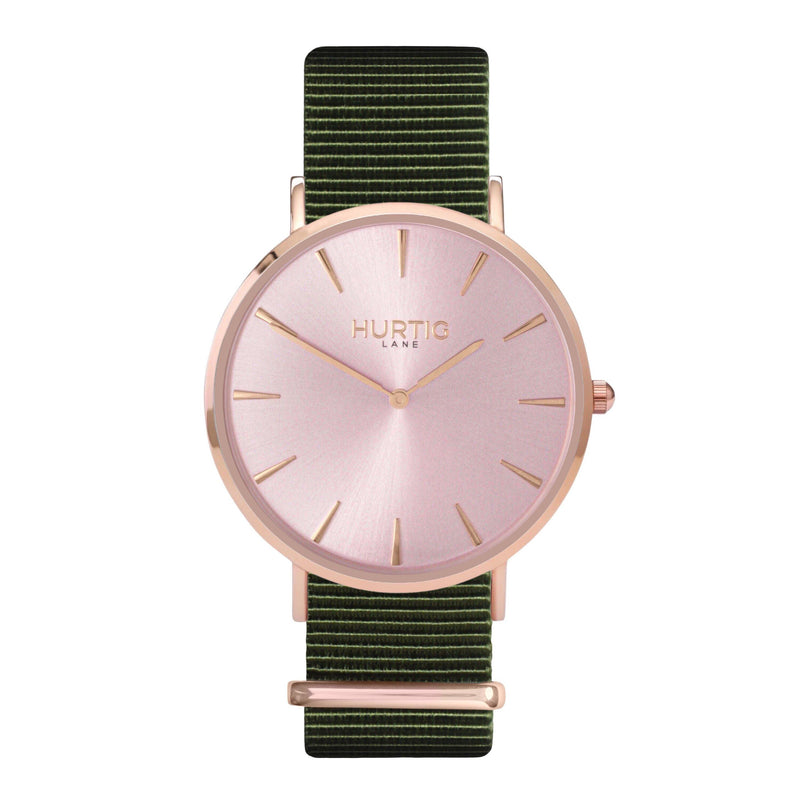 vegan nylon watch. nato watch rose gold and green