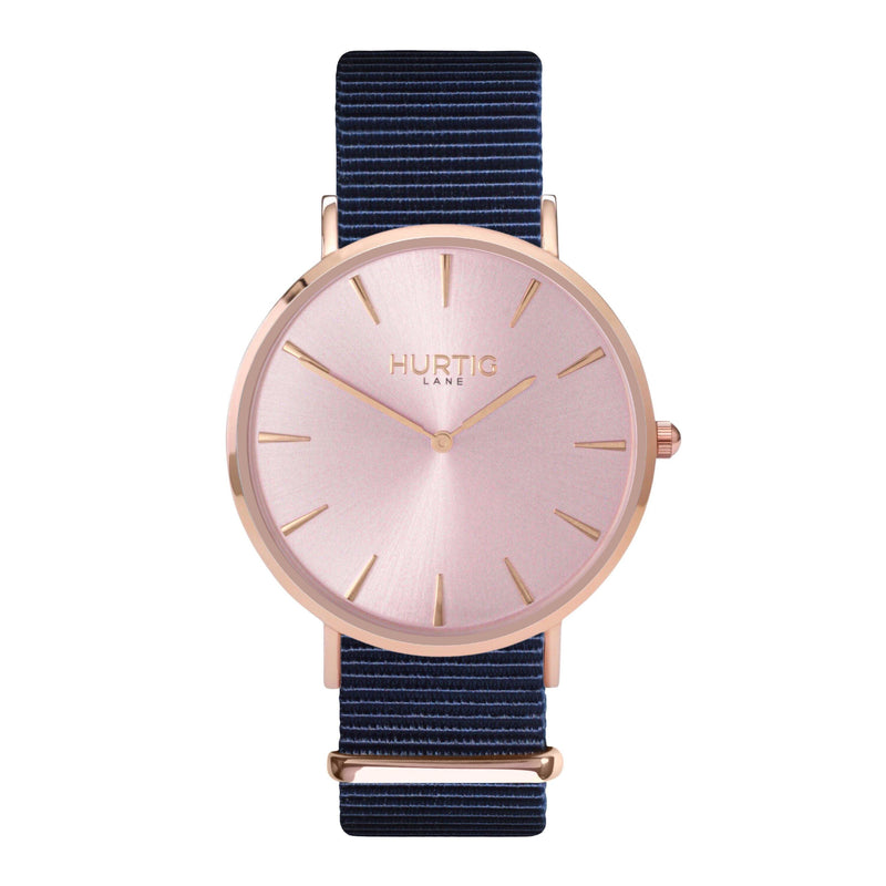 vegan nylon watch. nato watch rose gold and blue